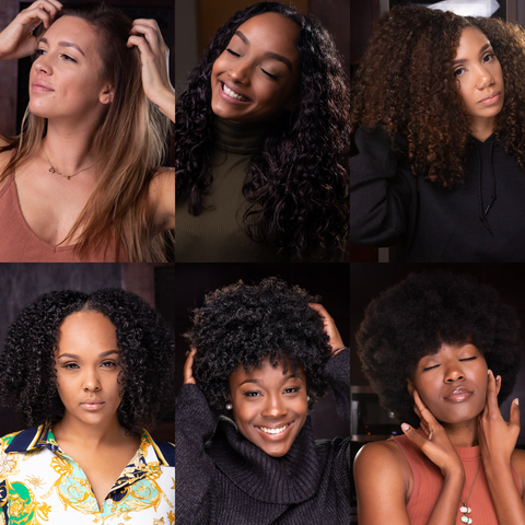A Collage of Canvas Girls showing different hair types from 1 to 4C types