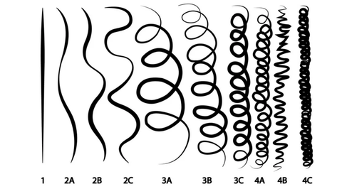 A chart of different curl types from 1 to 4C