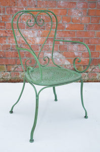 French Style Green Metal Chair with Arms