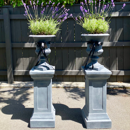 Pair of Medium Grey Urns with Matching Plinths