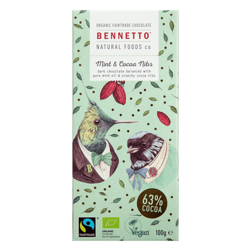 Bennetto Natural Foods co Mint & Cocoa Nibs 100G Chocolate Bar