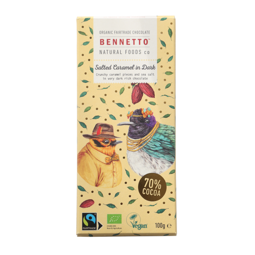 Bennetto Natural Foods co Salted Caramel in Dark 100G Chocolate Bar