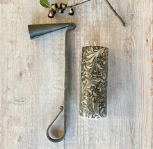 Hand Forged Candle Snuffer and Black Florentine Decoupage Candle