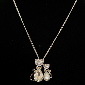 Double Cats Rhodium Pendant