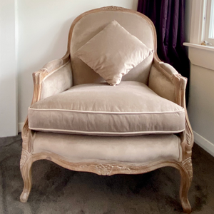 Natural French Antique Designed Velvet Oak Chair