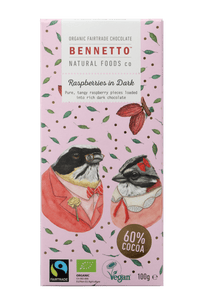 Bennetto Natural Foods co Raspberries In Dark 100G Chocolate Bar