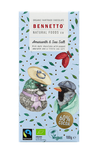 Bennetto Natural Foods co Amaranth & Sea Salt 100G Chocolate Bar