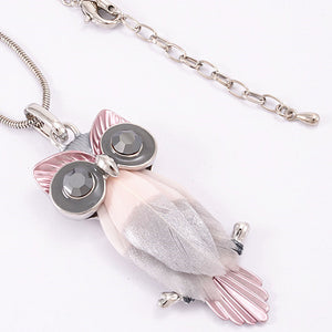 Owl Rhodium Pendant on Long Chain