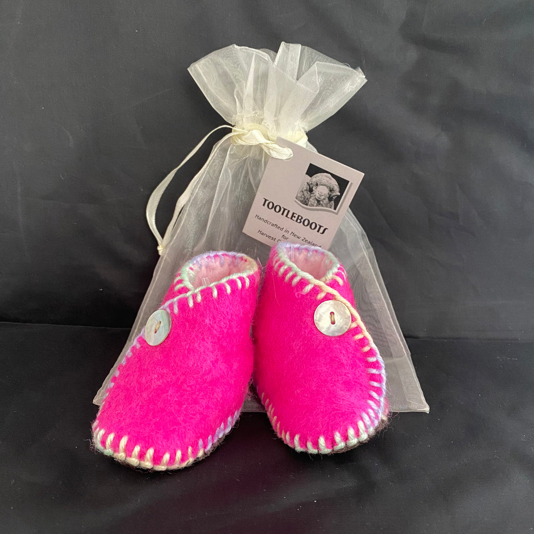 TootleBoots Infant Slippers Pink with Pastel Stitching