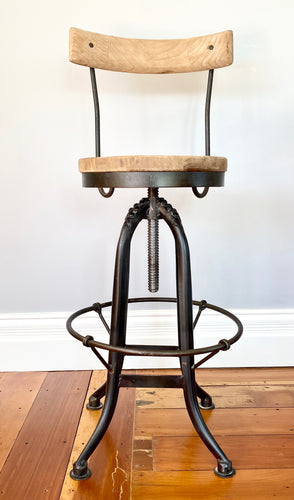 Reclaimed Elm Barstool with back support