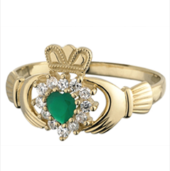 10K Gold Claddagh Ring with Green Agate & CZ Diamonds