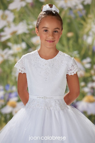 Lace Tulle and Satin A-line Communion Dress