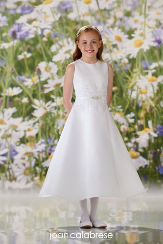 Sleeveless Satin A-line Flower Girl Communion Dress