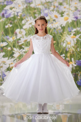 Sleeveless Lace and Organza Communion Dress