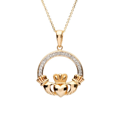 14K Diamond Set Claddagh