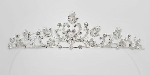 Anja Rhinestone Tiara White Communion Veil with Pearls
