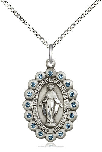Miraculous Medal with Aqua Stones