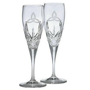 Galway Irish Crystal Trinity Knot Toasting Wedding Flutes