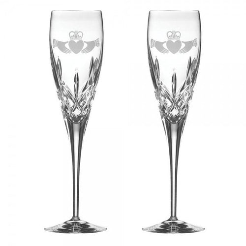 Galway Irish Crystal Claddagh Toasting Wedding Flutes
