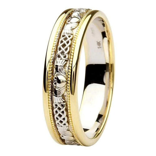 Celtic Claddagh 14K Gold Wedding Band With Yellow Gold Edges
