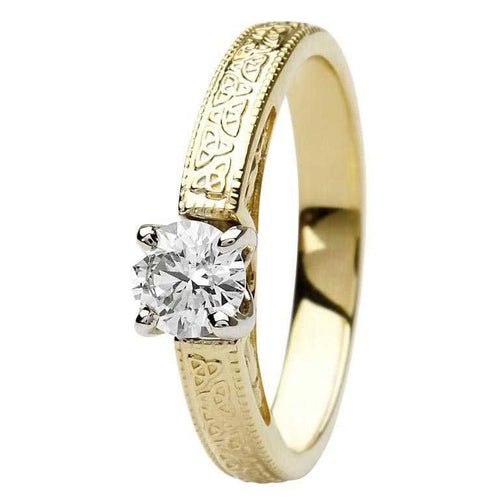 Celtic Engagement Ring 14K Yellow or 14K White Gold Diamond Round Stone