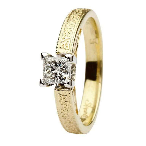 Celtic Engagement Ring 14K Gold Solitaire Princess Cut Diamond