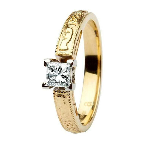 Claddagh Celtic Solitaire Diamond 14K Gold Engagement Ring Princess Cut