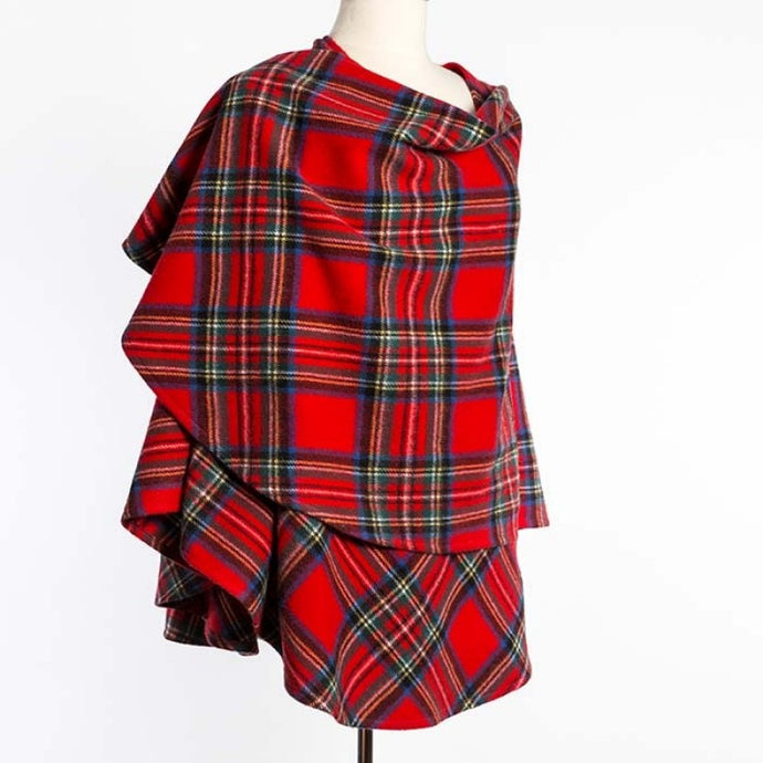 Ladies Cape Without Fringes - Tartan