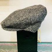 Harris Tweed Vintage Cap Black Herringbone by Hanna Hats