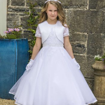 Satin and Tulle Communion Dress with Beaded Lace