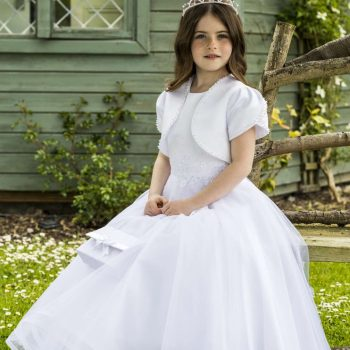 Sleeveless Satin and Organza Communion Dress