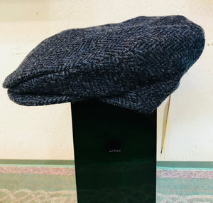 Harris Tweed Vintage Cap Dark Blue Herringbone by Hanna Hats