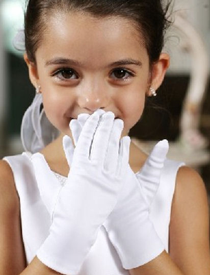 white satin gloves