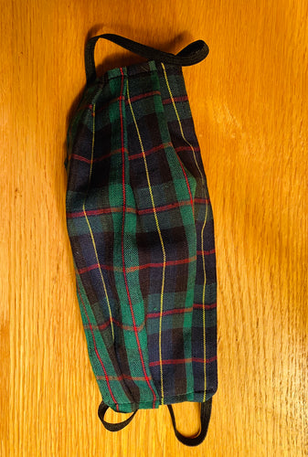 Navy/Green Plaid Mask