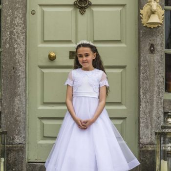Lace Mikado and Tulle Communion Dress