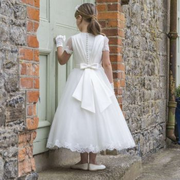 Mikado and Lace Tulle Communion Dress with Pleated Back