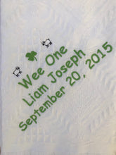 Load image into Gallery viewer, Personalized Embroidered Birth/Baptismal Blanket Wee One