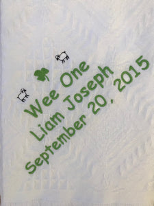 Personalized Embroidered Birth/Baptismal Blanket Wee One