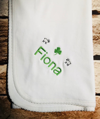 Personalized Cotton Blanket All White