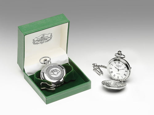 Mullingar Pewter Gents Pocket Watch Claddagh Design