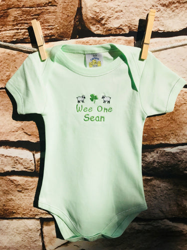 Personalized Embroidered Wee One Minty Onesie
