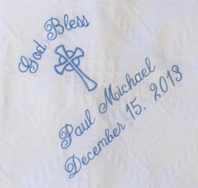 Load image into Gallery viewer, Personalized Embroidered Baptism/Birth Blanket #40 Cross