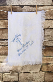 Personalized Embroidered Baptism/Birth Blanket #40 Cross