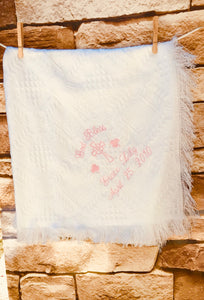 Personalized Embroidered Irish Baptismal/Birth Blanket #40 Shamrocks