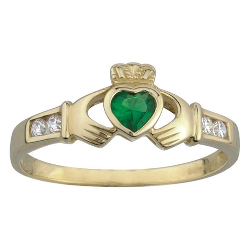 10k Gold Claddagh Ring Syn Emerald & CZ