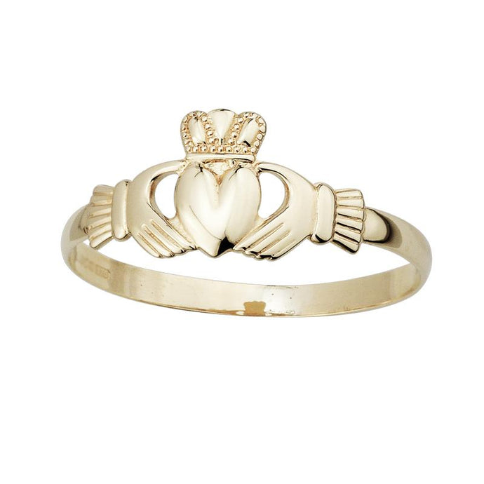 10K Gold Light Weight Small Claddagh Ring by Solvar