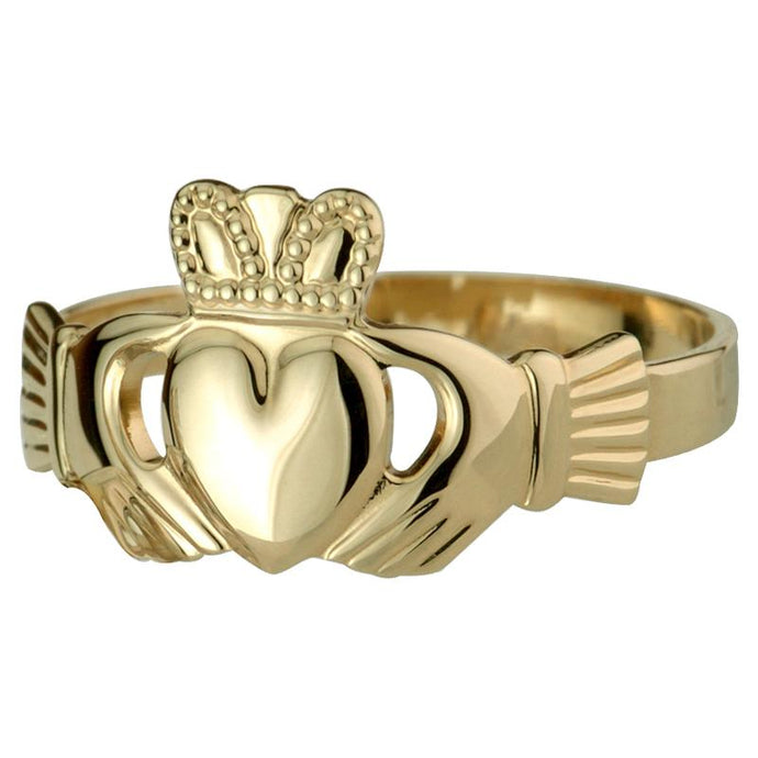 10K Gold Gent Ring  Puff Heart Hallowed Back Solvar