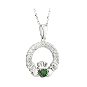 Sterling Silver Claddagh Birthstone Necklace