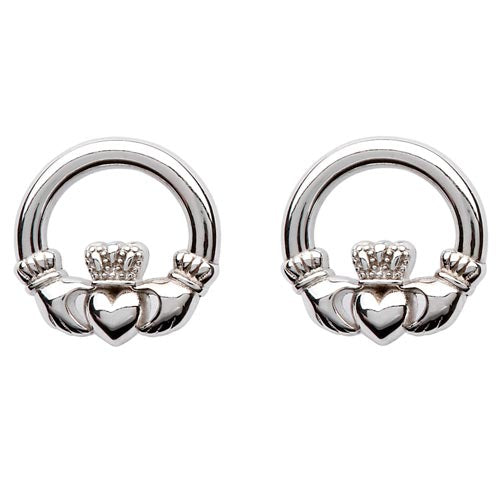 Sterling Silver Small Claddagh Studs