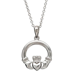 Sterling Silver Small Claddagh Necklace